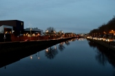 Early morning River Liffey reflections. The Guinness building to the left, Dublin, Ireland