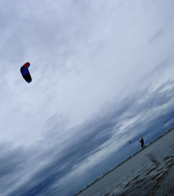 We have lift off!! A kite surfer in action at Poolbeg, Dublin Bay.