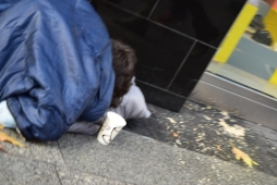 Ooops!! Sleeping rough on one of Dublin's main streets!