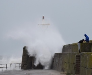 The effects of Storm Desmond as seen on the Arklow Breakwater. Co Wicklow, Ireland. Some splash!!