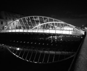 The James Joyce Bridge crosses Dublin's Liffey... a B&W look...
