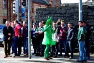 Just how creative must one be to attend a rugby game?? Ask that fella in the green... he may have the answer!