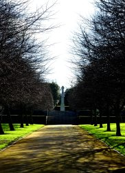 Tree lined avenue looking up toward the cross at the Irish National War Memorial