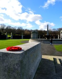 The plinth at the Irish National War Memorial, looking west