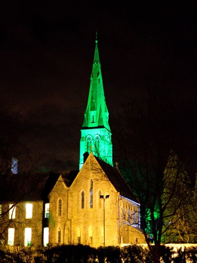 Happy St Patrick's Day 2016 - The church at Maynooth College bathed in green!