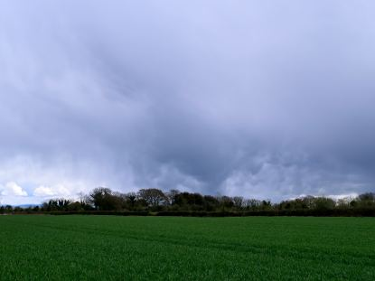 Green spring pastures beneath a stormy sky!