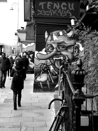 Long nose and horns?? Could this be the image of a street monster? A bit of street art in Dublin, Ireland.