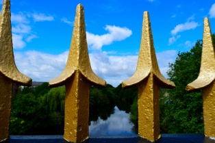 Gold spikes atop the bridge railings... one of the many bridges crossing Dublin's Liffey!