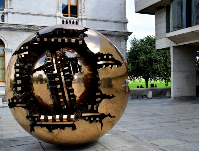 The Sphere at Trinity College Dublin... with cricket in the background!