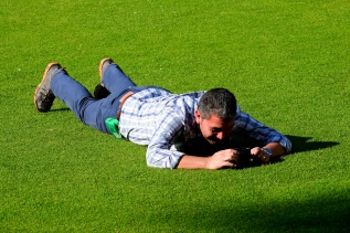 When you're laying flat on the grass you have to look upif you want to get the shot!