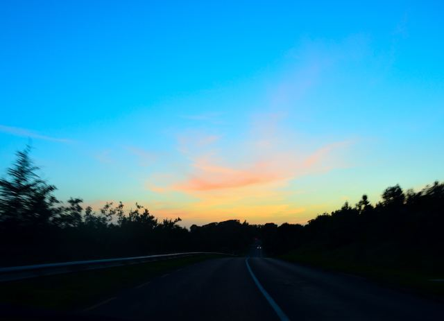The way home... the fading light paints the wispy clouds with a splash of colour!