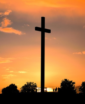 Late September sunset, the Papal Cross in Dublin's Phoenix Park