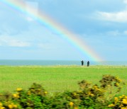 An Irish Sea rainbow... as seen from the train along the Wicklow coast...