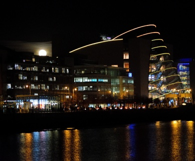 Novembar super moon showing it's face above the Dublin Convention Centre. The place shimmers... all dressed up for the night! Ostentatious indeed!