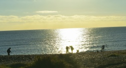 Blurry silhouettes of the fishermen at Ennereilly Beach. At 09h36, through the car's windscreen... for effect!