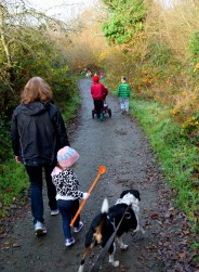 Taking the kids for a walk... er, I wonder who's taking who for a walk??? Fun!!