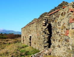 Old farm ruins at Kilmichael Point! In the yonder distance you'll see the wind turbines on Crochan Mountain.