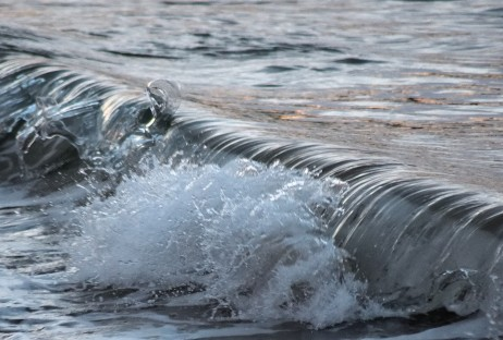 Getting dumped? Wave motion, sunset at The Cove, Arklow, Co Wicklow, Ireland
