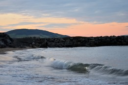 Wave motion, sunset at The Cove, Arklow, Co Wicklow, Ireland