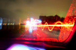 White and red light... through the car window. FUN!!