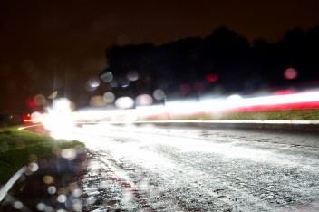Ten sec exposure... rain and car lights... white