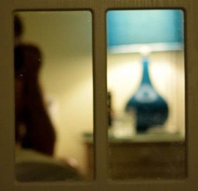 Still life... lamp and glass in blue and beige...