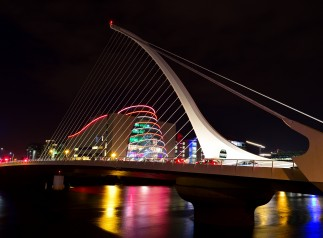 Night shot, Dublin's Samuel Beckett Bridge with the Convention Center in the background - 08 Dec 2017