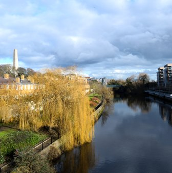 Weeping Willows along the Liffey = Wellington Testimonial in the distance... Dublin, Ireland