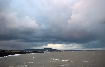 The warning signs are there to see... the beast from the east is due to arrive any time now... Arklow, evening 27 Feb 2018. Churning seas and swirling clouds...