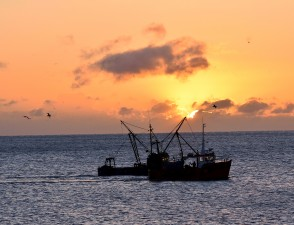 Arklow Bay sunrise splendour - fishing boats enjoy the special!