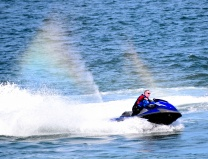 Riding the double rainbow - capturing the moment - jet ski having fun along South Beach, Arklow, Co Wicklow, May bank holiday 2018