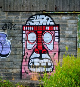 """Happy"" face on the drab wall... adds colour to an otherwise grey industrial wasteland - Arklow"