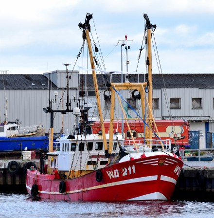 Red hull - fishing vessel moored in Arklow