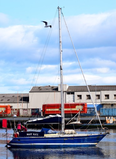 Blue hulled yacht in Arklow Harbour - Mary Kate...