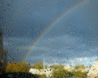 Rainbow through the car window... cool, I think!