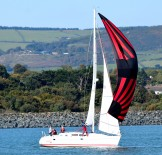 Autumn sailing in Arklow Bay - a touch of red!