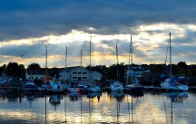Silent Sunday... harbour lights... the clouds help sunbeams play on the water - cool!