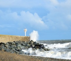 Arklow South Pier wall... and the happy splash... crisp air after the storm!