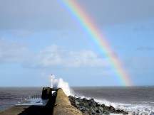 Storm Eric leaves us with a smattering of colour... and a splash! 08 FEB 2019, Arklow, Co Wicklow, Ireland