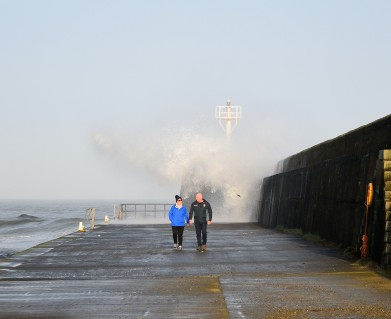 Making a splash... riding the wave! Wake wave hitting the breakwater at Arklow - 23 FEB 2019