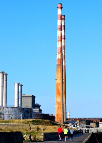 Dublin Port - along the Liffey - as seen from the Great South Wall - The Poolbeg Chimneys... showing their age... and lack of care by the PTB!!